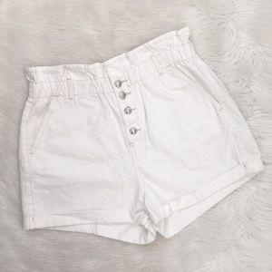 Topshop White High Waisted Denim Jean Shorts